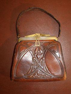 Vintage Art Nouveau leather Cameo Quality ladies purse handbag | eBay
