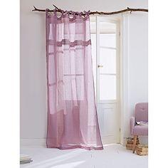 2-teiliges Set Leinenvorhang mit Spitze und Schlaufen lav…