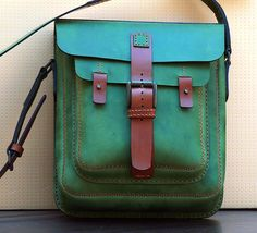 vertical shoulder bag, nubuk and vegtan leather