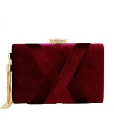 466c8755a5a Womens Velvet Evening Clutch Bag Bridal Purse Structured Party Prom Cocktail  Wedding Handbag - Wine Red - CY188INRUHC. Women s Clutches   Evening BagsRed  ...