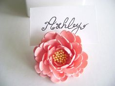 Wedding Peony Place Card Holder. Wedding Favor. Wedding by parsi