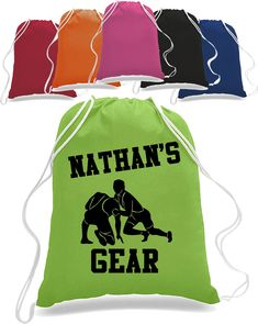 Personalized totebag - Wrestler backpack - Sports Drawstring Closure Bag Backpack personalized with name future wrestler wrestler totebag Personalized Backpack, Personalized Pillow Cases, Backpack Bags, Tote Bags, Drawstring Backpack, Custom Tees, Direct To Garment Printer, How To Look Better, Shirt Designs