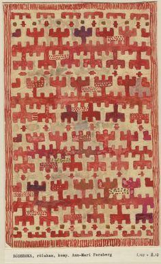 ann-mari forsberg - Design for rölakan rug Rödbroka, 1944 Motifs Textiles, Textile Fabrics, Vintage Textiles, Textile Patterns, Textile Design, Textile Art, Fabric Design, Print Patterns, Indian Patterns