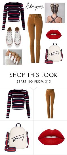 """Concert #2 🎤🎤"" by helloimpotato ❤ liked on Polyvore featuring Amapô, Tommy Hilfiger, Lime Crime and Converse"
