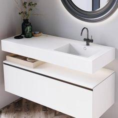 Badevask: VASK CORIAN® QUIET Corian, White Bathroom, Double Vanity, Mirror, Furniture, Home Decor, Full Bath, Bathing, Decoration Home