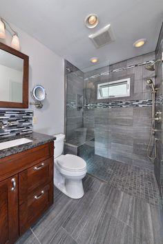 curbless shower floor bathroom contemporary with open freestanding vanities tops