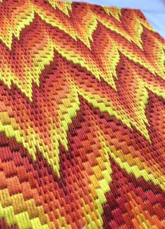 Bargello Needlepoint or Florentine Long stitch Original handmade in Spring 2018 in a striking zig zag design in yellow and orange flames. Traditional popular Bargello Flame stitch design taking about 30 hours work to complete DMC Cotton Embroidery Threads on fine mesh. As a flat