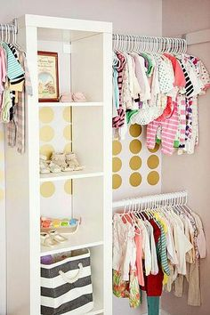 such a cute closet. I'd want to take the doors off.