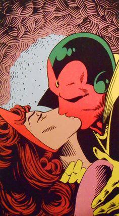 Top: Vision & the Scarlet Witch, vol. art by Rick Leonardi, Marvel Avengers, Marvel Art, Marvel Heroes, Vision Marvel Comics, Marvel Universe, Comic Books Art, Comic Art, Geeks, Heros Comics