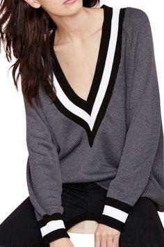 Grey V Neck Long Sleeve Knit Sweater