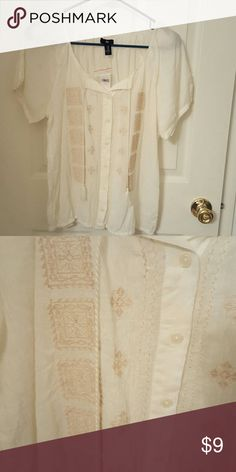 Boho top Cute white sheer cotton button top with tassle ties at the neck. Neutral design. GAP Tops Button Down Shirts