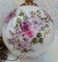 Hand Painted Milk Glass Globe Hanging Lamp Roses by Thirdxsacharm