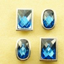 4 SILVER PLATED w/ SAPPHIRE RESIN FAUX CRYSTALS 2 HOLE SLIDER...