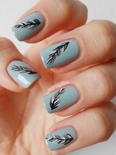 18 Feather Nail Art Designs - Beautiful feathers on every nail.