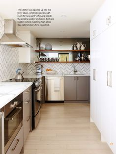 Canadian House  Home Magazine (February 2013). Sarah Richardson redesigned Michael Prini's dated and closed-off condo kitchen.