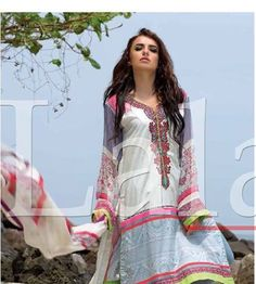 """This is a 3 piece beautiful designer Lala's """"Vintage"""" prints Kurta with matching straight solid color trouser and beautiful chiffon neck scarf. Its beautifully embroidered with a fresh artistic design.    Size Large (can fit up to 42 inches around the chest).        USA Seller and fast shipping.     This can also be given as a beautiful gift.  I will pack it as a gift for free with a small greeting card personalized with your greeting. Please do let me know in advance so I do not put a…"""