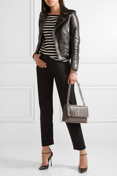 Saint Laurent | Sunset medium croc-effect leather shoulder bag + leather jacket + striped tee + black pants