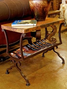 Copper magazine table