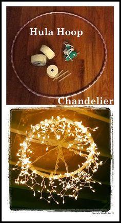 hula hoop chandelier made of string lights