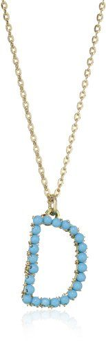 "Mercedes Salazar ""Stones\"" Turquoise Initial \'D\' Necklace"