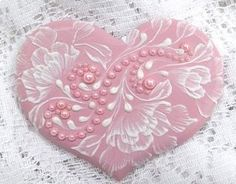 Hand painted soft pink, brush embroidery with pearl trim via Etsy Fancy Cookies, Heart Cookies, Iced Cookies, Cute Cookies, Cupcake Cookies, Sugar Cookies, Easter Cookies, Cookie Favors, Christmas Cookies