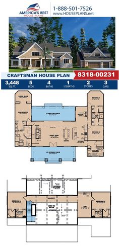 Take a look at this stunning Craftsman design, Plan 8318-00231 features 3,448 sq. ft., 5 bedrooms, 4.5 bathrooms, a loft, a mud room, and a keeping room. Find more information about Plan 8318-00231 on our website!