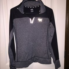 PINK quarter zip Grey quarter zip... Bought for $60. Only worn a couple times. I don't like the way it looks on me, I don't feel like I pull it off. Sad because it's super cute!! PINK Victoria's Secret Tops Sweatshirts & Hoodies