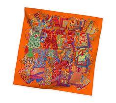 2014 F/W | Voyage en Etoffes | Silk twill scarf, hand-rolled (90 cm x 90 cm) | Ref. H002432S 13 | CA$420.00