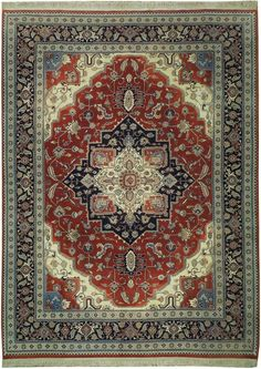 9x12 HAND-KNOTTED Fine Lustrous Wool Heriz Rug
