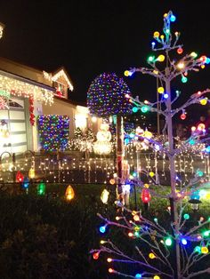 Christmas lights displays at Chestnut Ave in South San Francisco, CA