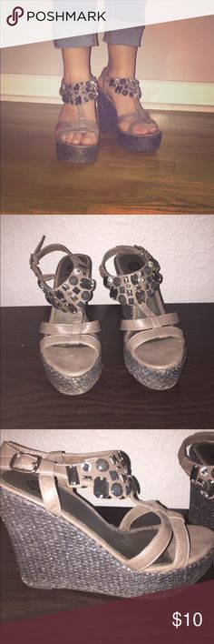 Yellow Box Wedges Cute pewter wedges. In good condition. A couple of worn places (see pictures). Smoke free home! Yellow Box Shoes Wedges