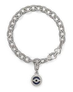 Judith Ripka Evil Eye Charm Link Bracelet with White, Black and Blue Sapphires | Bloomingdale's