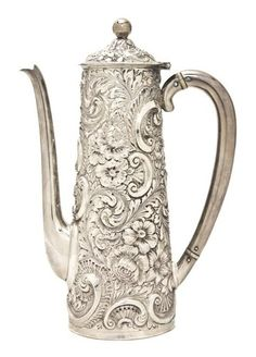 not china but LARGE 19TH C SILVER J.F. FRADLEY & CO CHOCOLATE POT