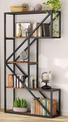 C-Shaped Rustic Industrial Open Bookcase Give your home a taste of industrial inspiration with clean-lined bookshelf. Founded with a K shaped structure, it strikes an open silhouette that emphasize… Welded Furniture, Industrial Design Furniture, Iron Furniture, Steel Furniture, Home Decor Furniture, Furniture Projects, Diy Home Decor, Furniture Design, Rustic Industrial