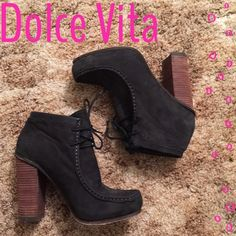 """Dolce Vita booties Black suede and wood brown booties from Dolce Vita. Worn about 5 times. Fit true to size. Approx 4-4.5"""" heel. Minor fading which is typical of suede materiel. Dolce Vita Shoes Ankle Boots & Booties"""