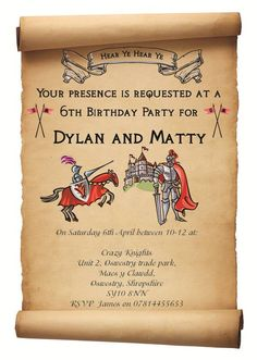 Medieval Party Invitation Wording - Medieval Party Invitation Wording , Me Val Wedding Invitations Dragon Birthday Parties, Dragon Party, Birthday Party Themes, Birthday Ideas, Castle Party, Medieval Party, Knight Party, Dragons, Party Activities