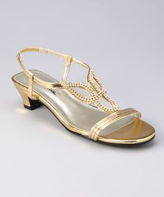Take a look at this Gold Lizzy T-Strap Sandal by Annie Shoes on #zulily today!