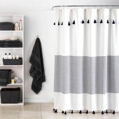 Striped shower curtains, gray shower curtains и bathroom shower cur Grey Bathrooms, White Bathroom, Modern Bathroom, Vintage Bathrooms, Teen Bathroom Decor, Bathroom Organization, Master Bathroom, Cute Shower Curtains, Bathroom Curtains