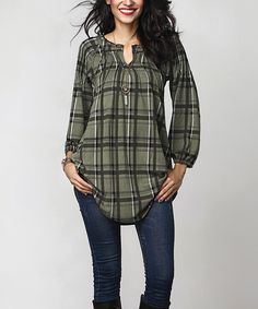 Another great find on #zulily! Olive Plaid Notch Neck Tunic by Reborn Collection #zulilyfinds