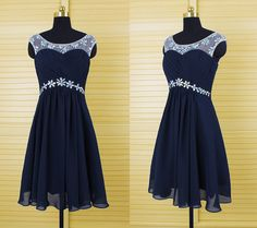 Dark navy blue open back short bridesmaid dress,chiffon beaded prom dress,short homecoming dress,junior bridesmaid dress,formal dress
