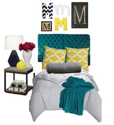 Birch Grove Interiors, blue and yellow, turquoise, tufted headboard, navy lamp, yellow pillows, wall letters