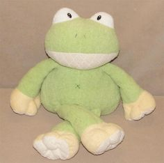 Animal Adventure Green Cream Chenille Frog Plush Stuffed Toy X Stitches 2012 #AnimalAdventure