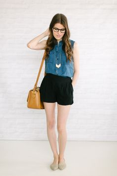 Sleeveless chambray, soft shorts, flats