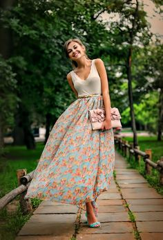 Floral maxi skirt with belt! I love it