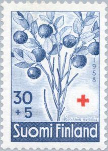 ◇Finland 1958 Bilberry (Vaccinium myrtillus) -- (the pin via Anneli Laitinen • https://www.pinterest.com/pin/478085316668985206/ )