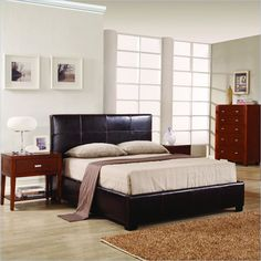 This is the one I want!  Modus Lucca Upholstered Storage Platform Bed in Chocolate Leather