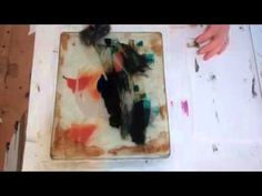 Gel Plate Shapes - using masks (shapes cut out of paper) over an inked gelli plate, adding texture with water, a/c, pencil or ruler then taking a print. With Jane Davies