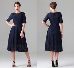 A Line Navy Blue Lace Mother of the Bride Dresses Vintage Half Sleeve Tea-length Dress for Beach Wedding 2015 Bridesmaid Party Evening Gowns Online with $107.86/Piece on Ballydress's Store | DHgate.com