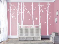 Wanddeko - Weiße Birke Wandtattoos Kinderzimmer Wandtattoo - ein Designerstück von vinylwalldecals bei DaWanda