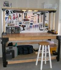 Garage organization tip: Set up a zone, which includes a flat surface to work on, to do your DIY projects with all your tools close at hand and it'll be much easier to get them done.